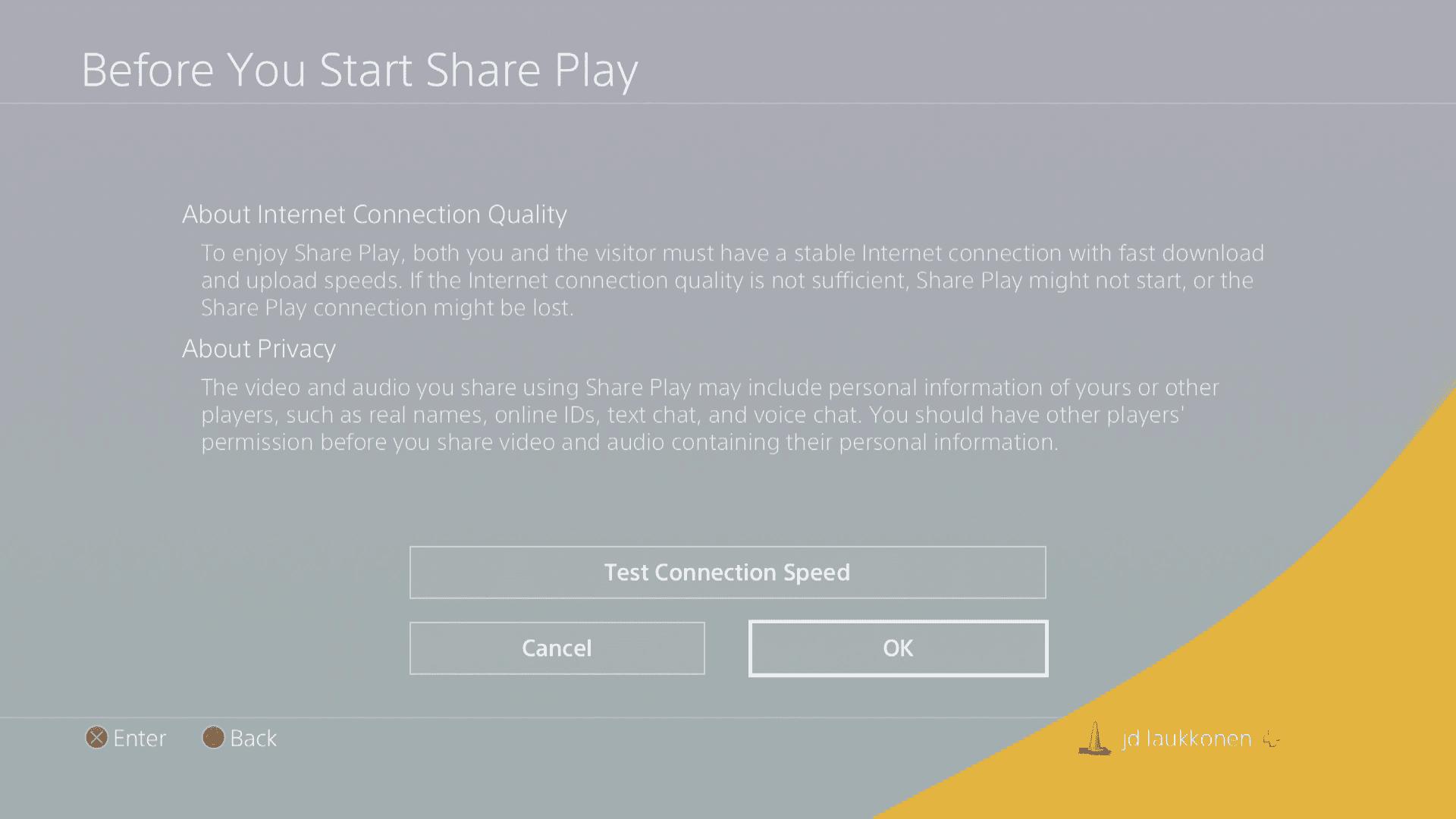 A screenshot of Share Play information.