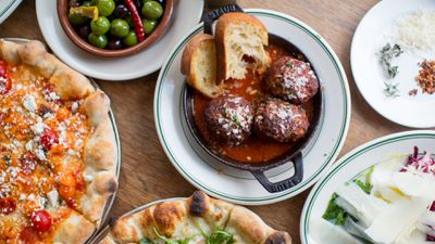 Pizza, meatballs, and other food items that can be ordered via the Postmates app and website.