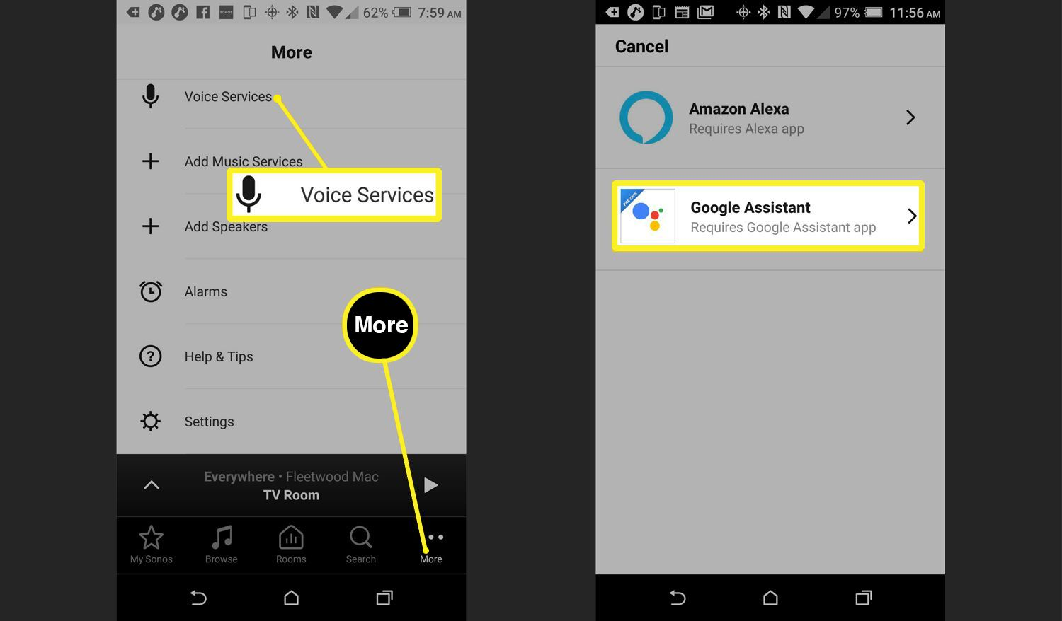 Voice Services set up on phone