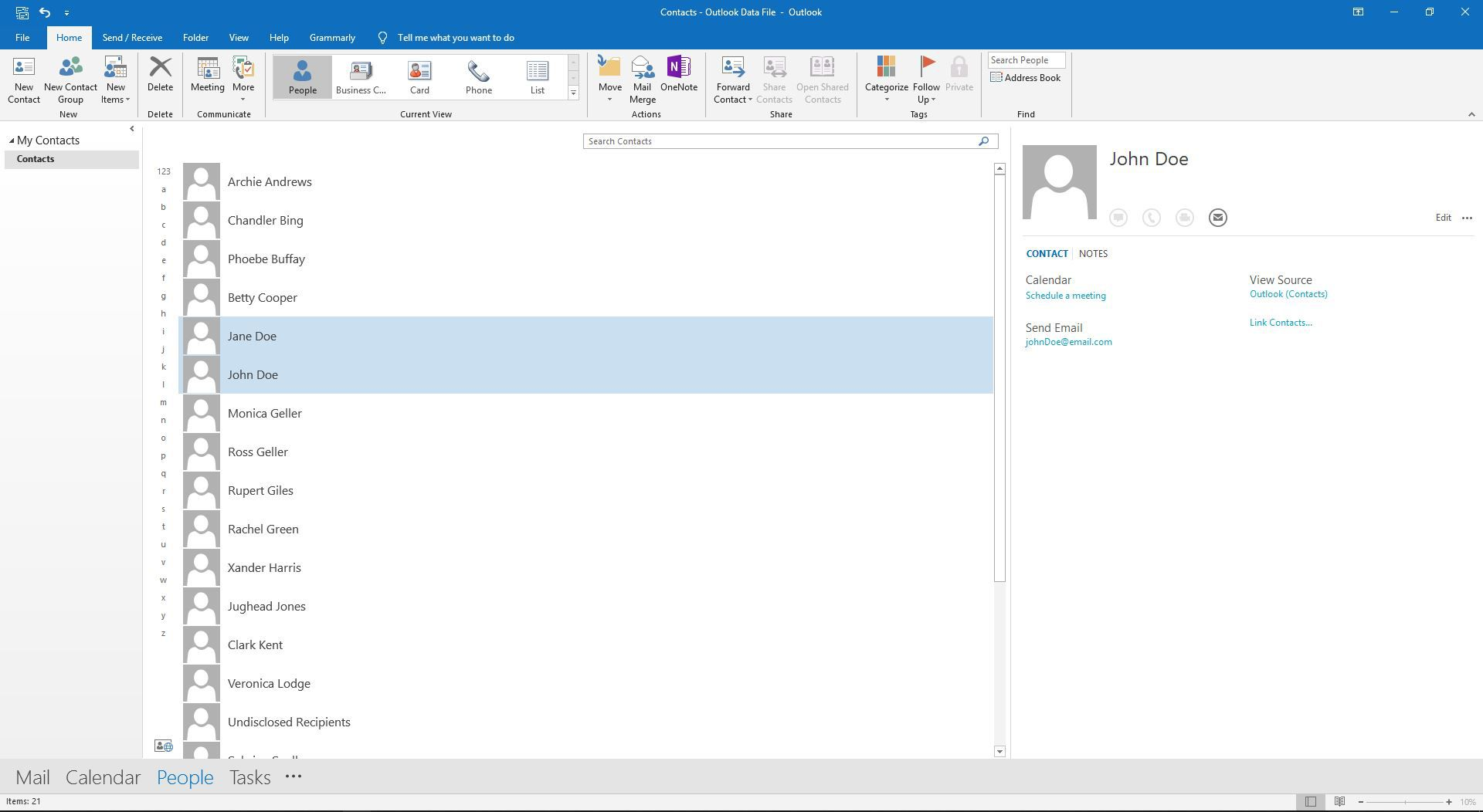 Two contacts are highlighted in Outlook