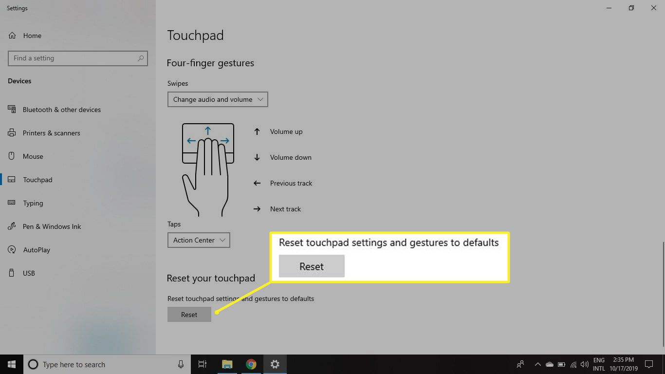 Reset touchpad settings to default