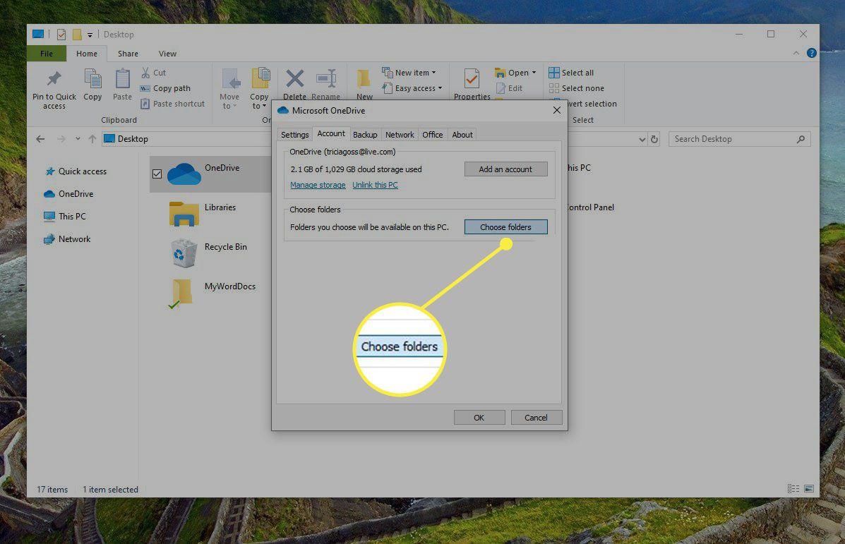 Choose Folders button in OneDrive settings