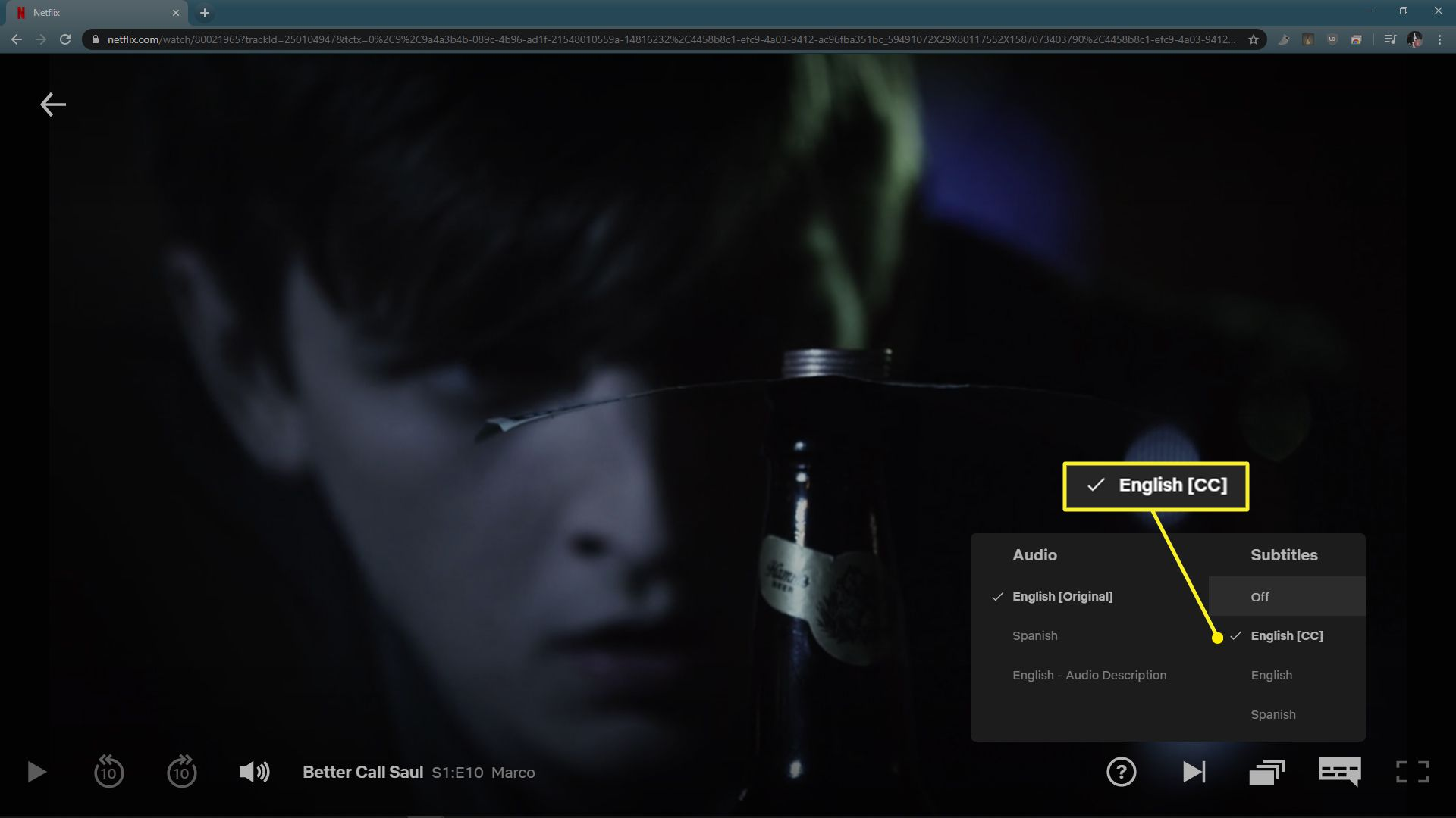 Netflix Audio and Subtitles menu with English (CC) highlighted