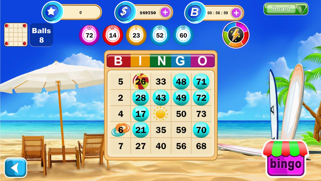 Screenshot of playing Surf Bingo
