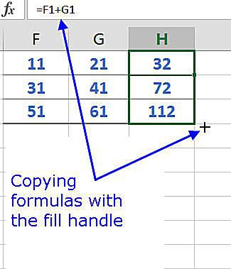 Copy formulas with the fill handle in Excel