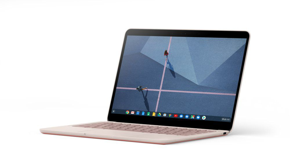 An image of a Pixelbook Go, a Chromebook by Google.