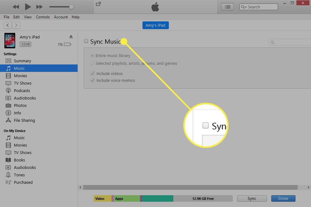 iTunes with the Sync Music option highlighted