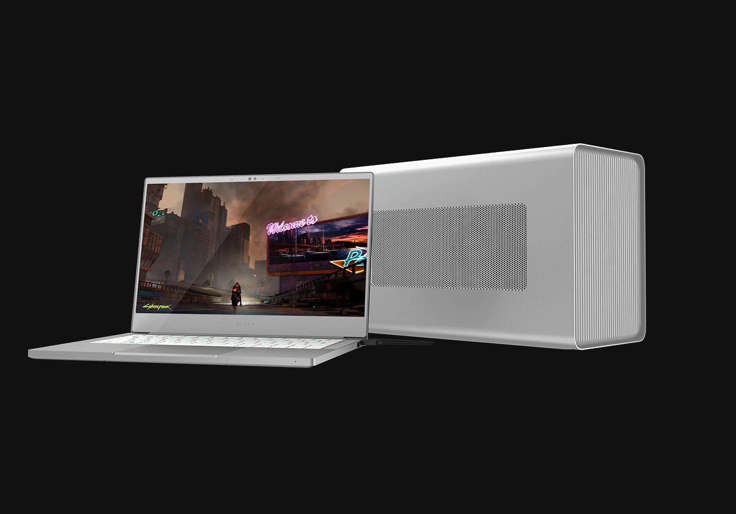 Razer Core X EGPU enclosure attached to a laptop