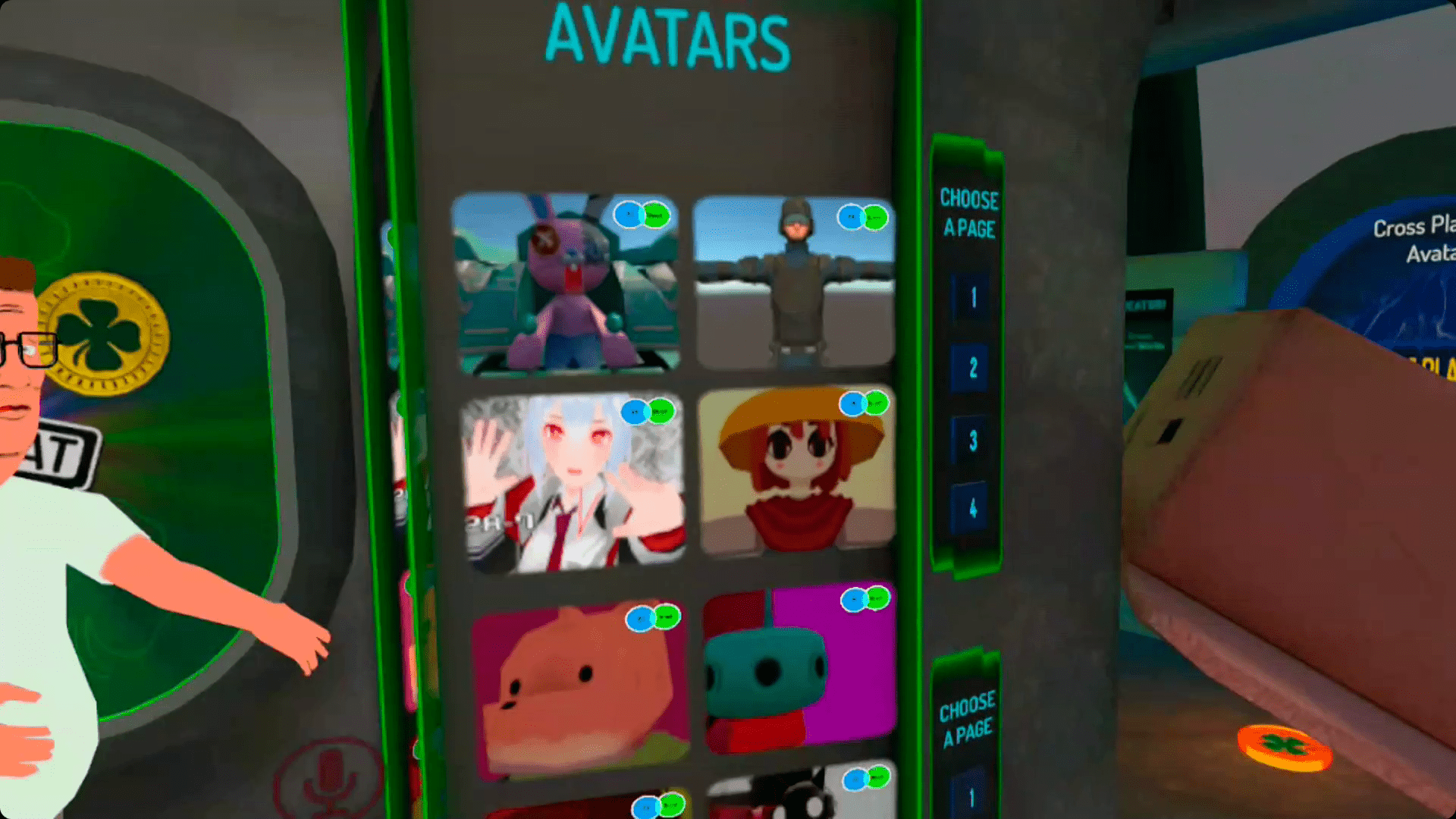 Avatars in VRChat on Quest.
