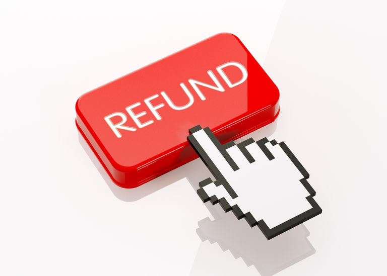 Hand Shaped Computer Cursor Clicking On A Red Button: Refund Writes On Button