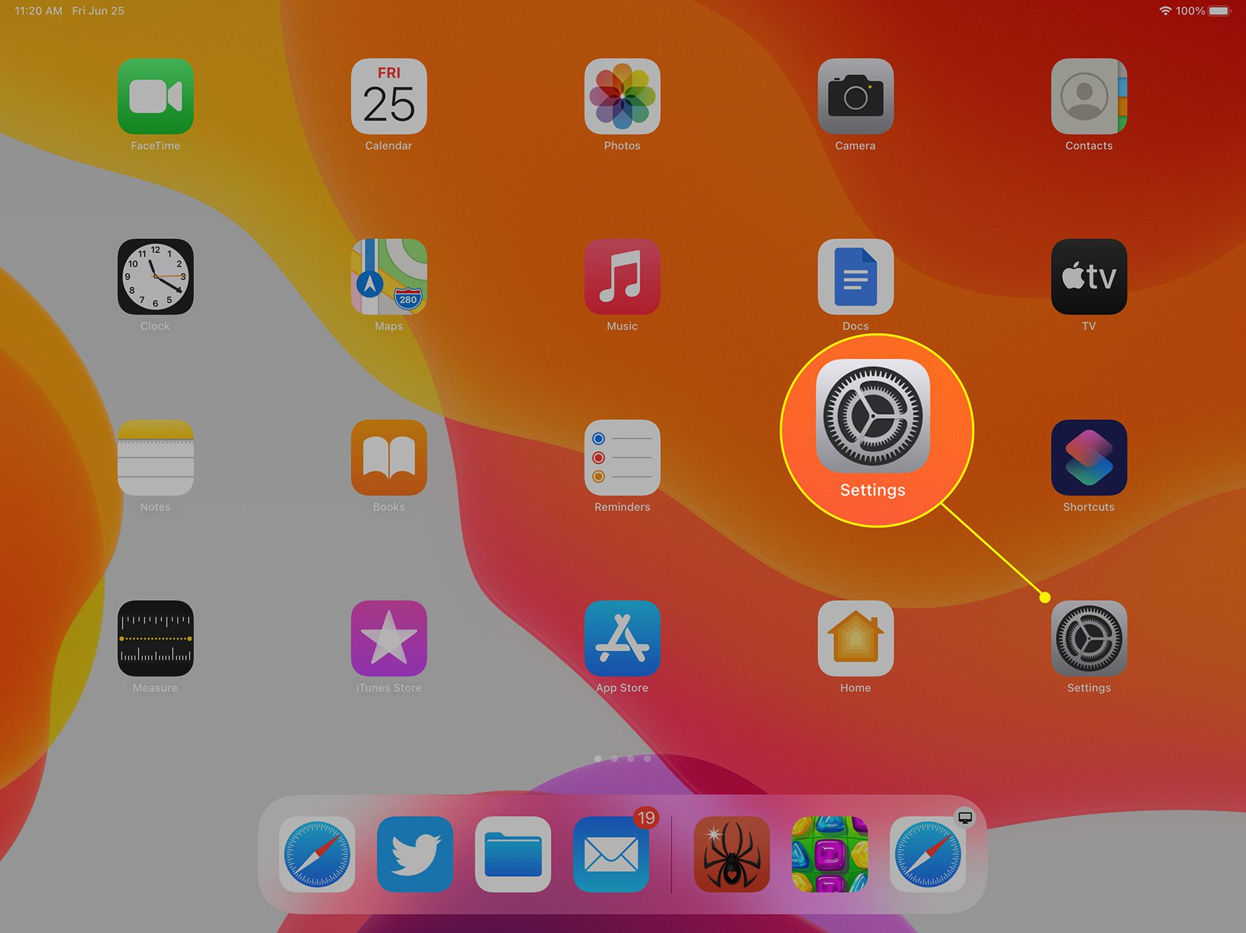 iPad Home screen with Settings icon highlighted