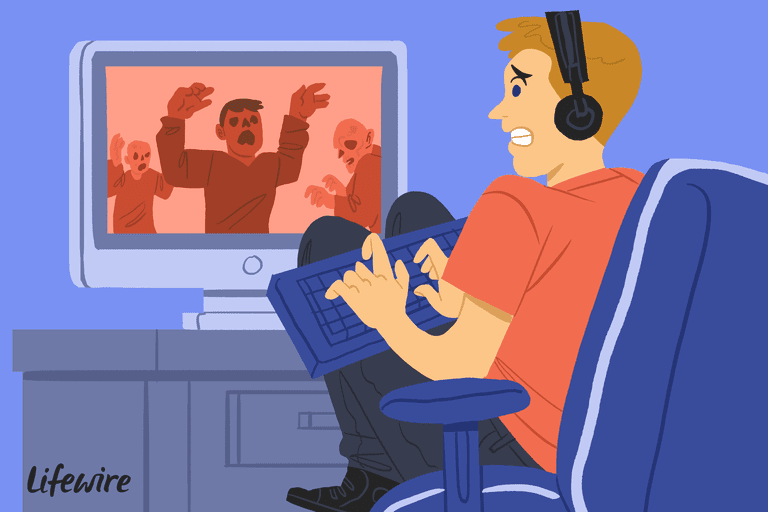 Illustration of a frightened gamer playing Call of Duty: Zombies on his television