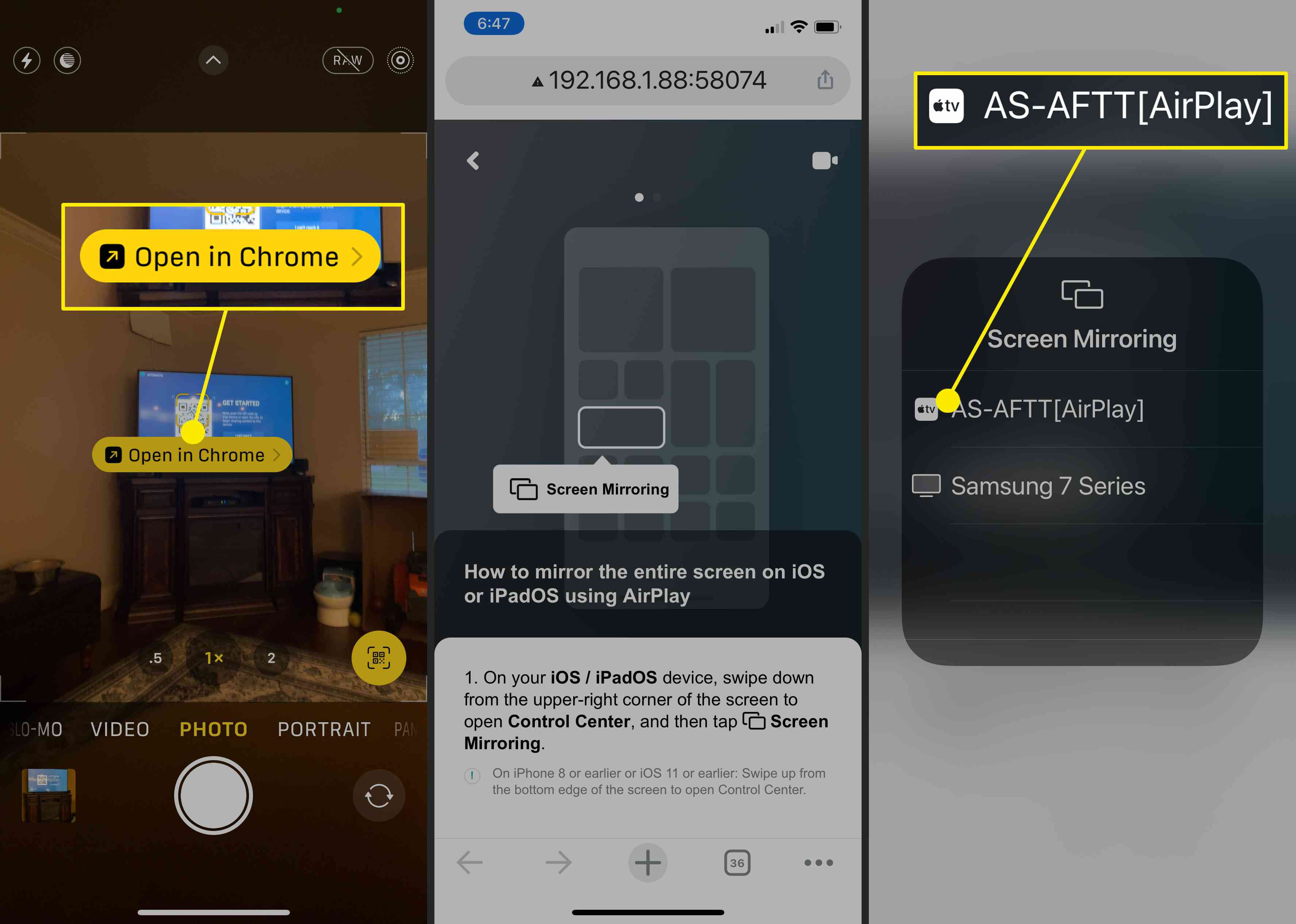 Screenshots showing how to set up AirScreen on the iPhone.