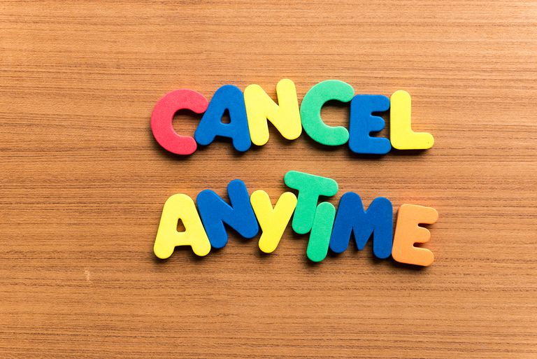 High Angle View Of Colorful Cancel Anytime Text On Wooden Table