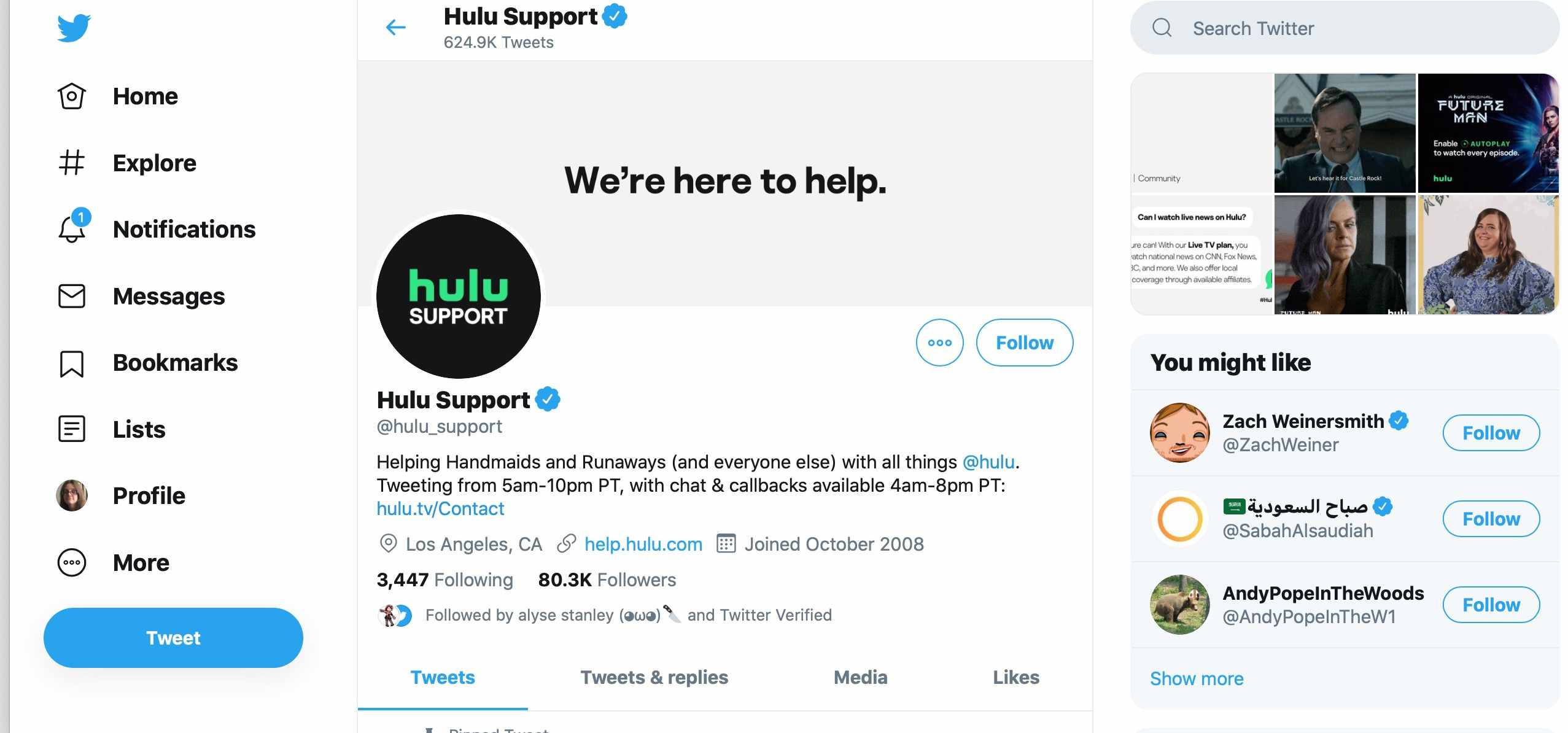 Hulu Support Twitter account page