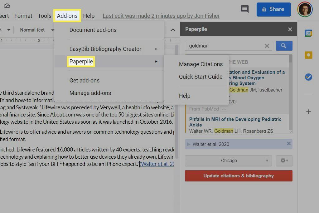 Add-ons installed inside Google Docs.