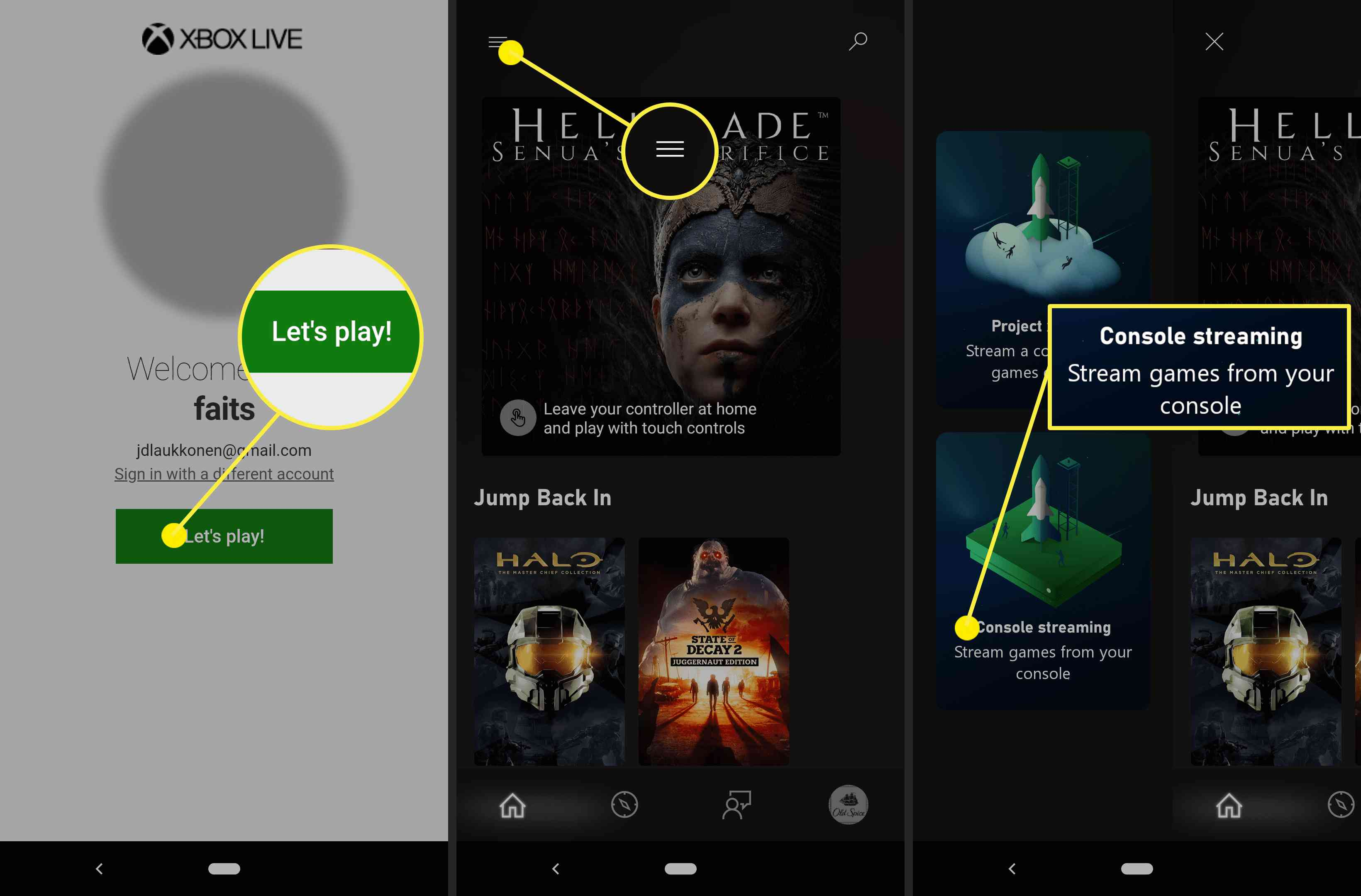 Screenshots showing how to get to the Console Streaming option on the Xbox app.