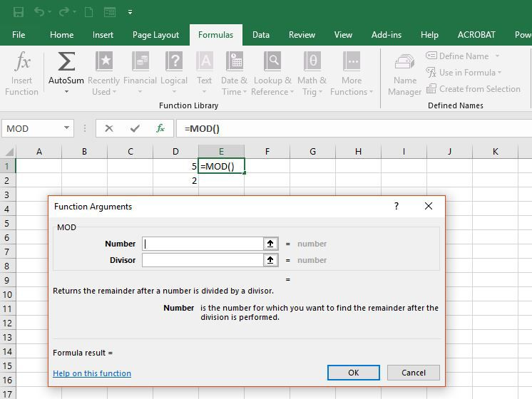Find the Remainder When Dividing With Excel's MOD Function