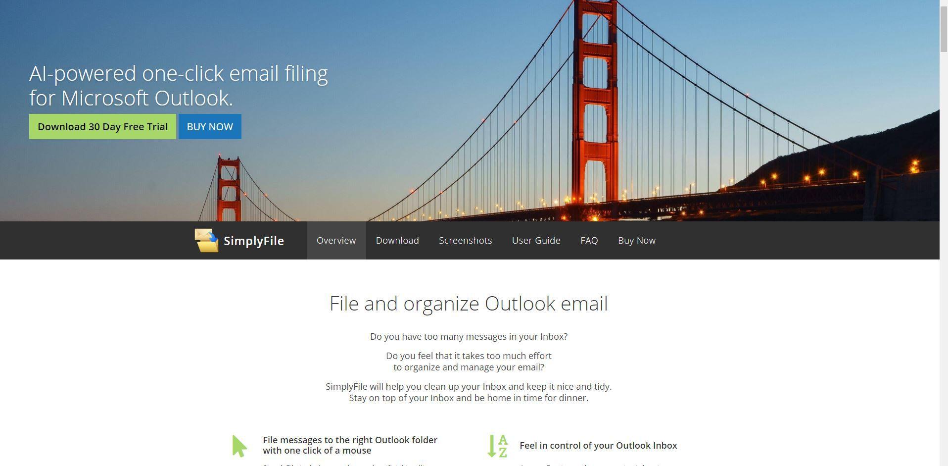 Screenshot of SimplyFile website