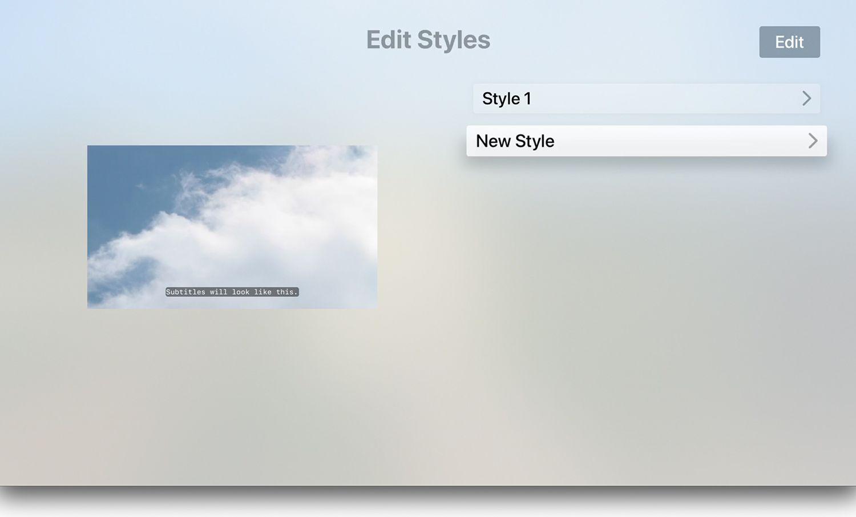 Edit Styles on Apple TV