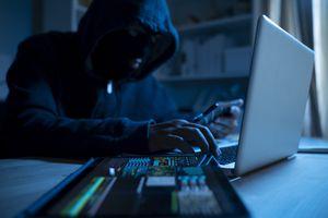Hacker man at a laptop