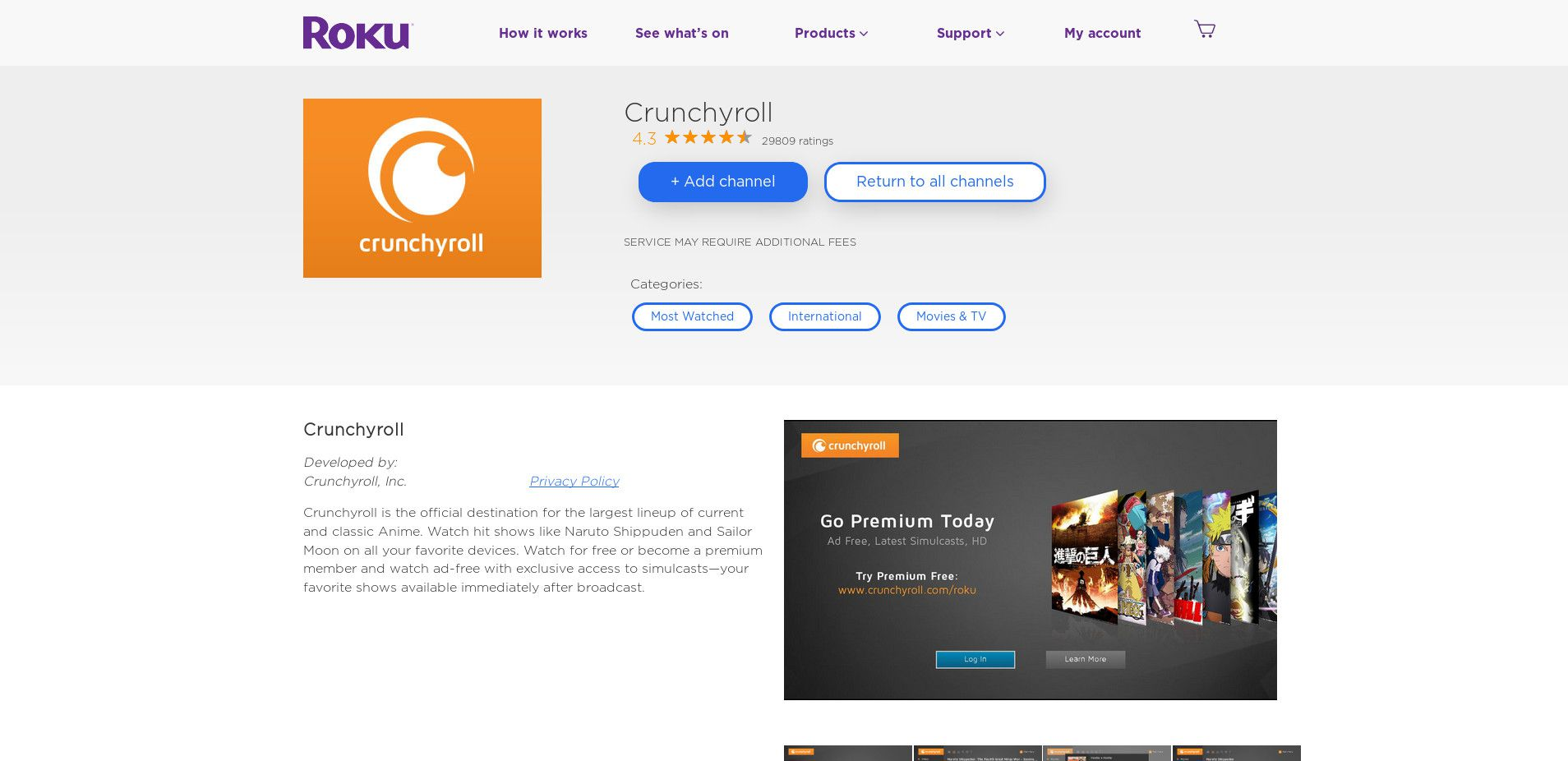 Image result for Crunchyroll and Roku