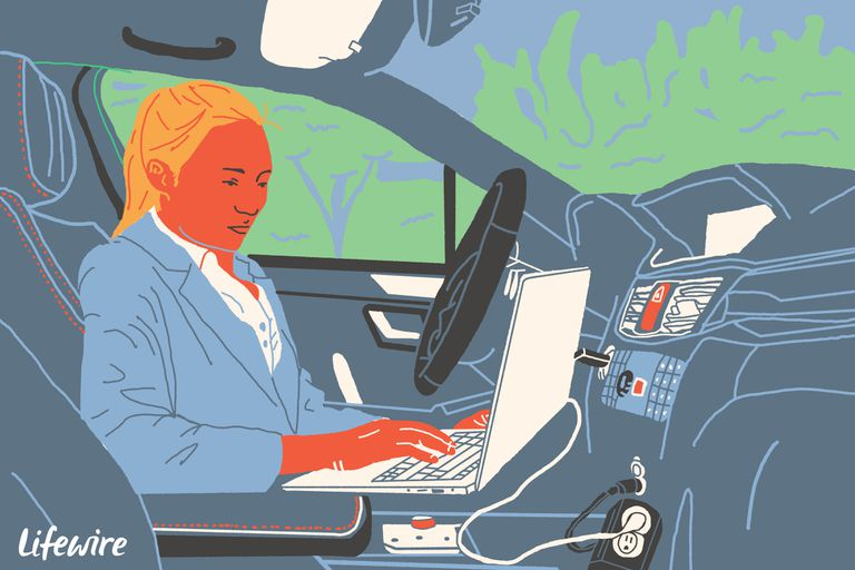 Illustration of a person using a laptop in their car via a power inverter
