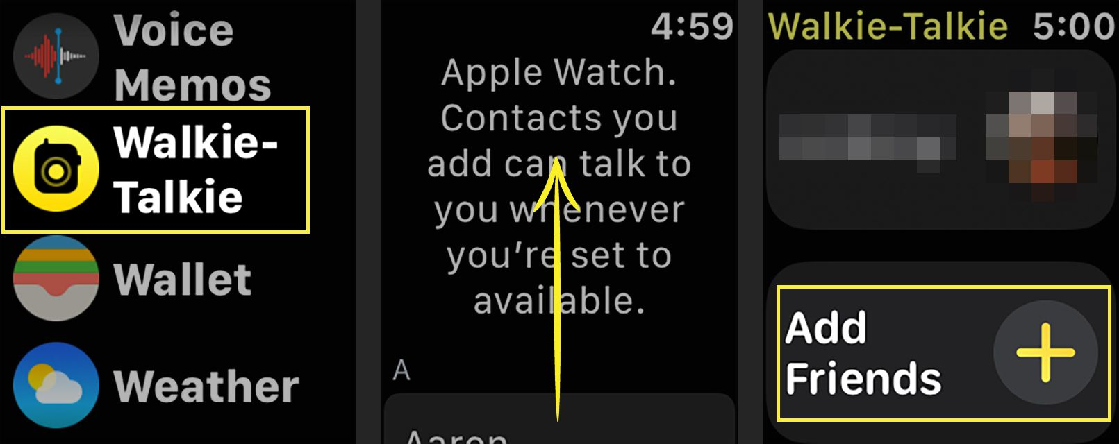 Adding a contact to the Walkie-Talkie app