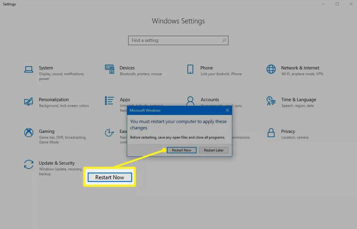 Restart Now button in Windows 10 settings