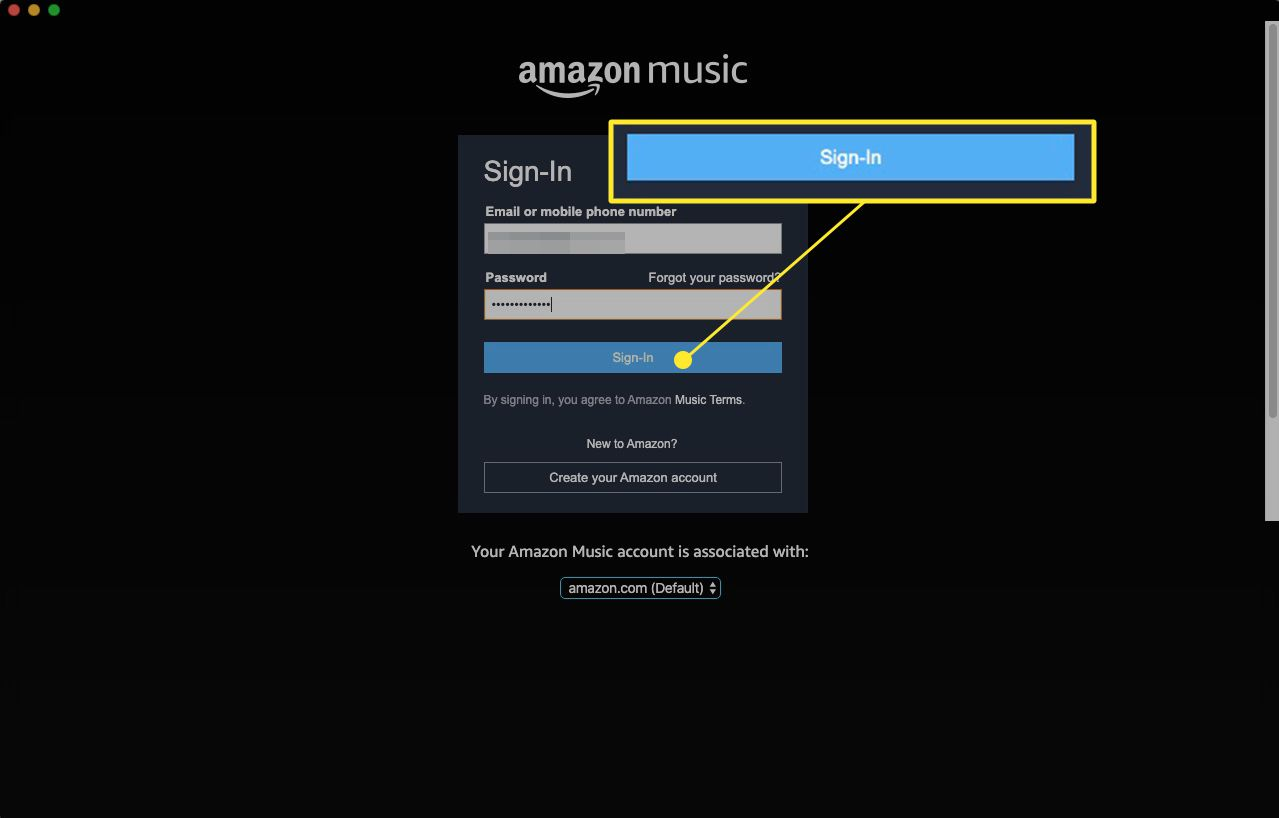 Amazon music web app sign-in screen with