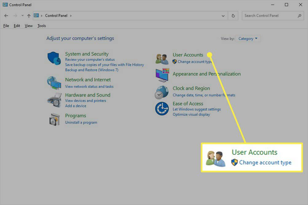 User Accounts highlighted in Control Panel categories in Windows 10.