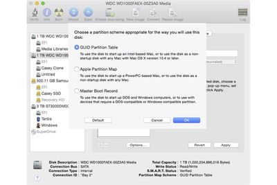 Disk Utility in OS X showing the partition panel