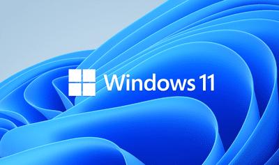 Windows 11 logo on default wallpaper
