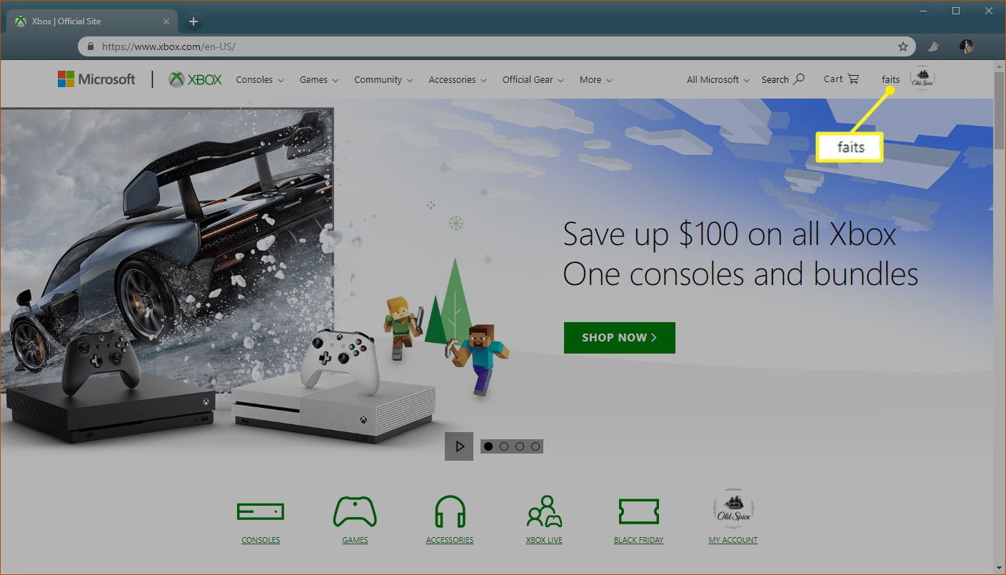 Xbox.com with gamertag on the top right
