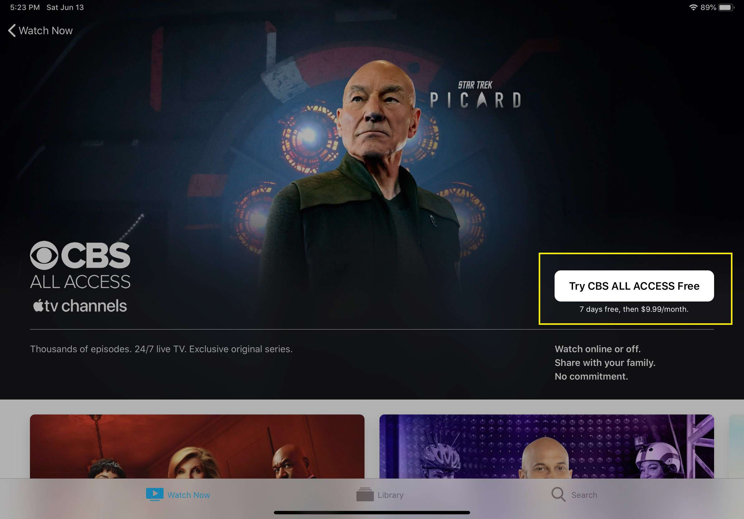 CBS All Access in Apple TV channel with free trial offer highlighted