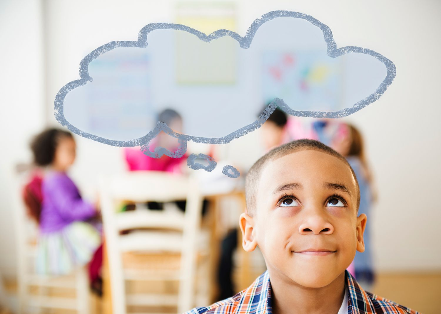 Boy with thought bubble over his head