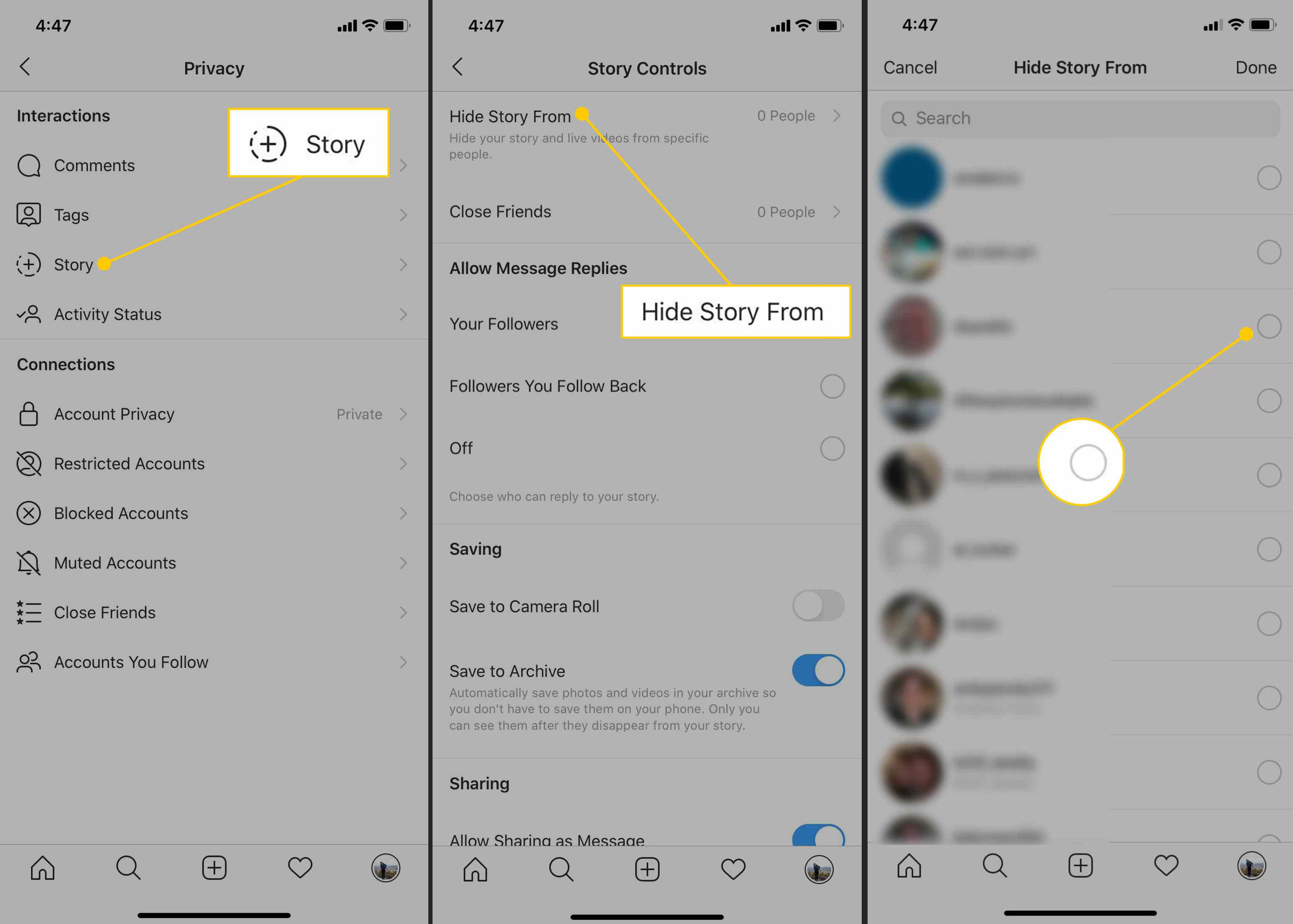 Story, Hide Story From, Radio button in Instagram