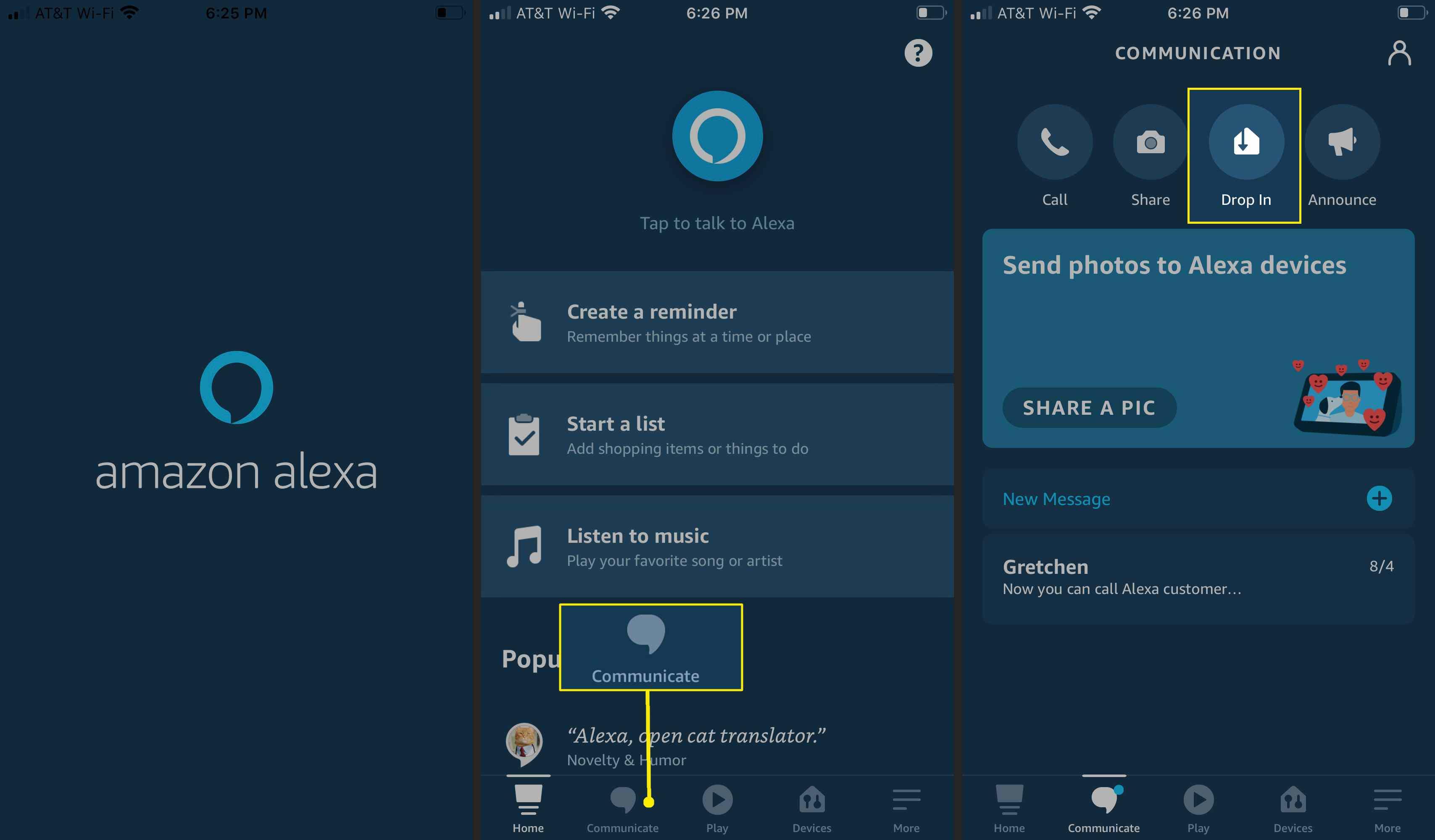 Set up Drop In on the Alexa App