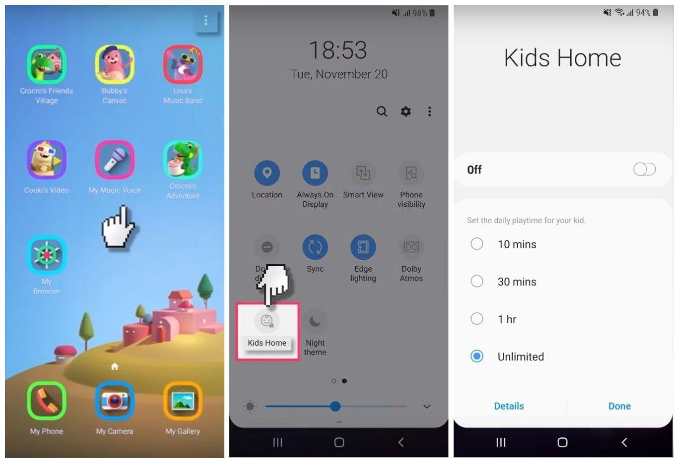 Screenshots of Samsung Kids Home