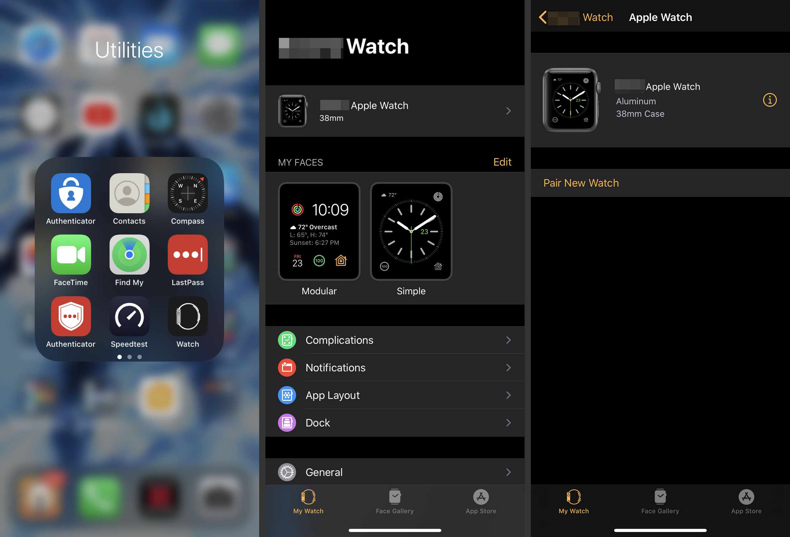 Information button in the iPhone's Watch app