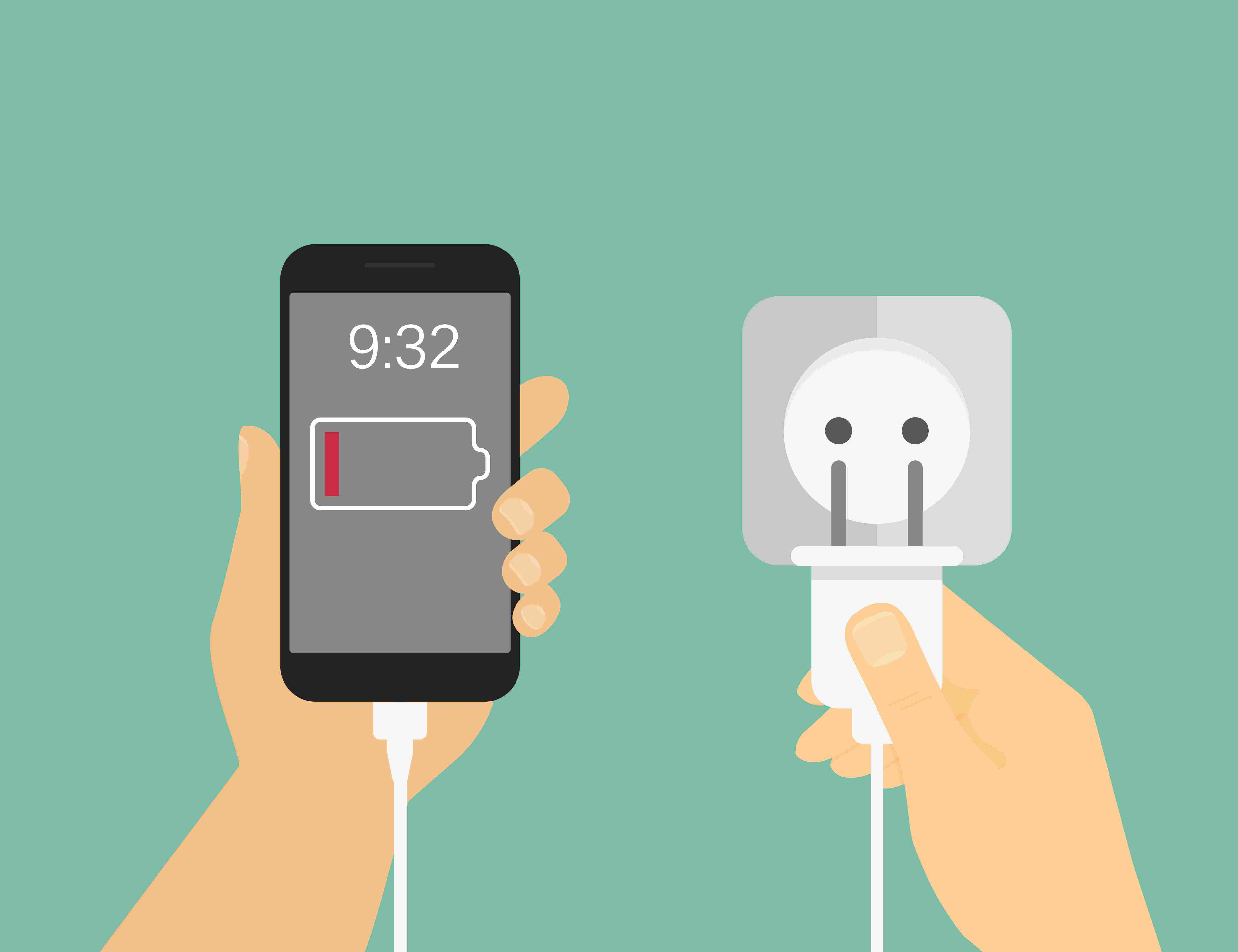 plugging in low battery phone
