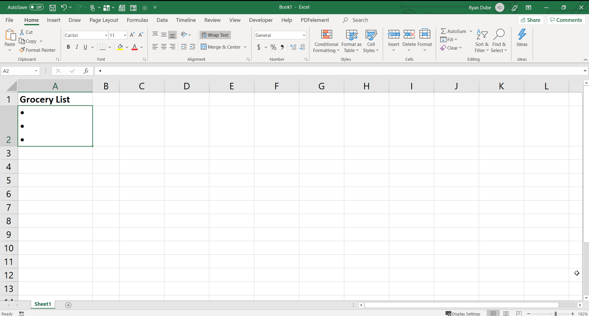Screenshot of entering multiple bullets in one cell in Excel