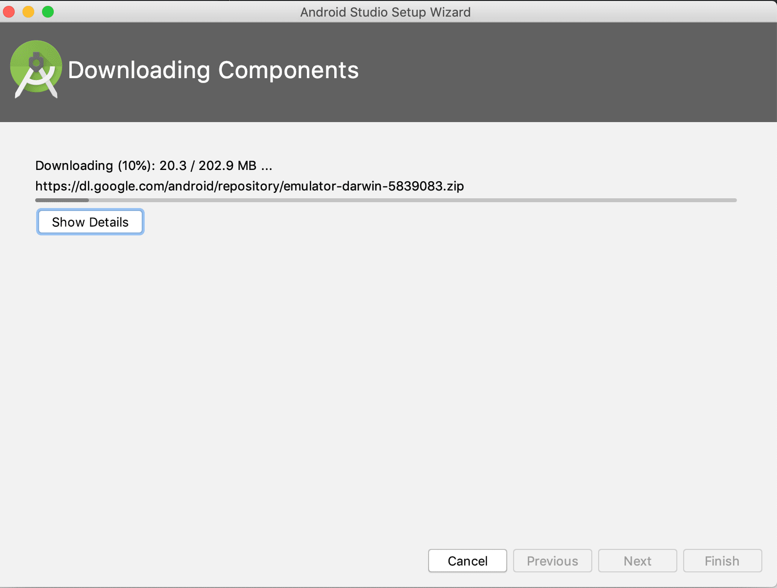 screenshot of Android Studio Downloading Components screen