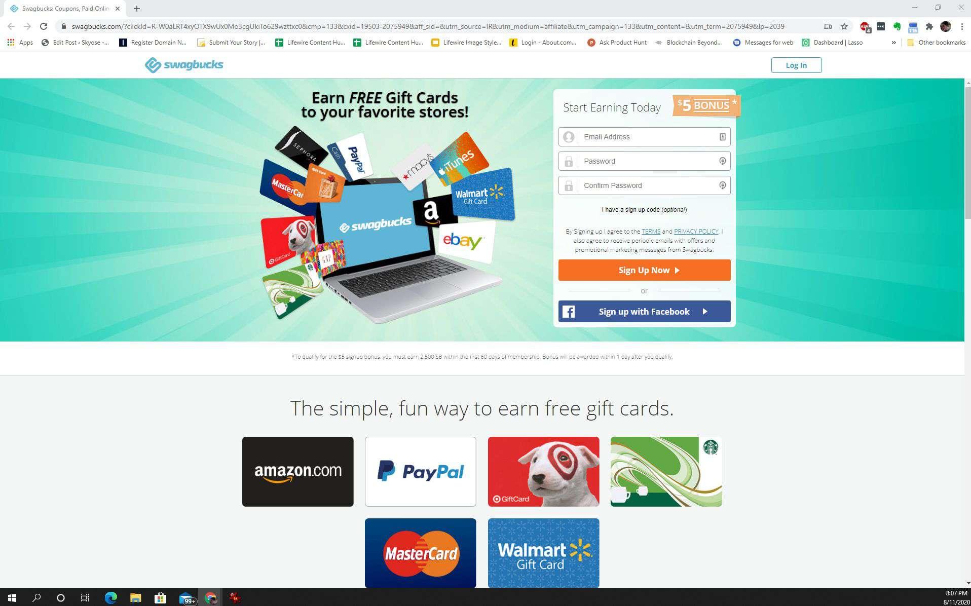 Screenshot of Swagbucks main page