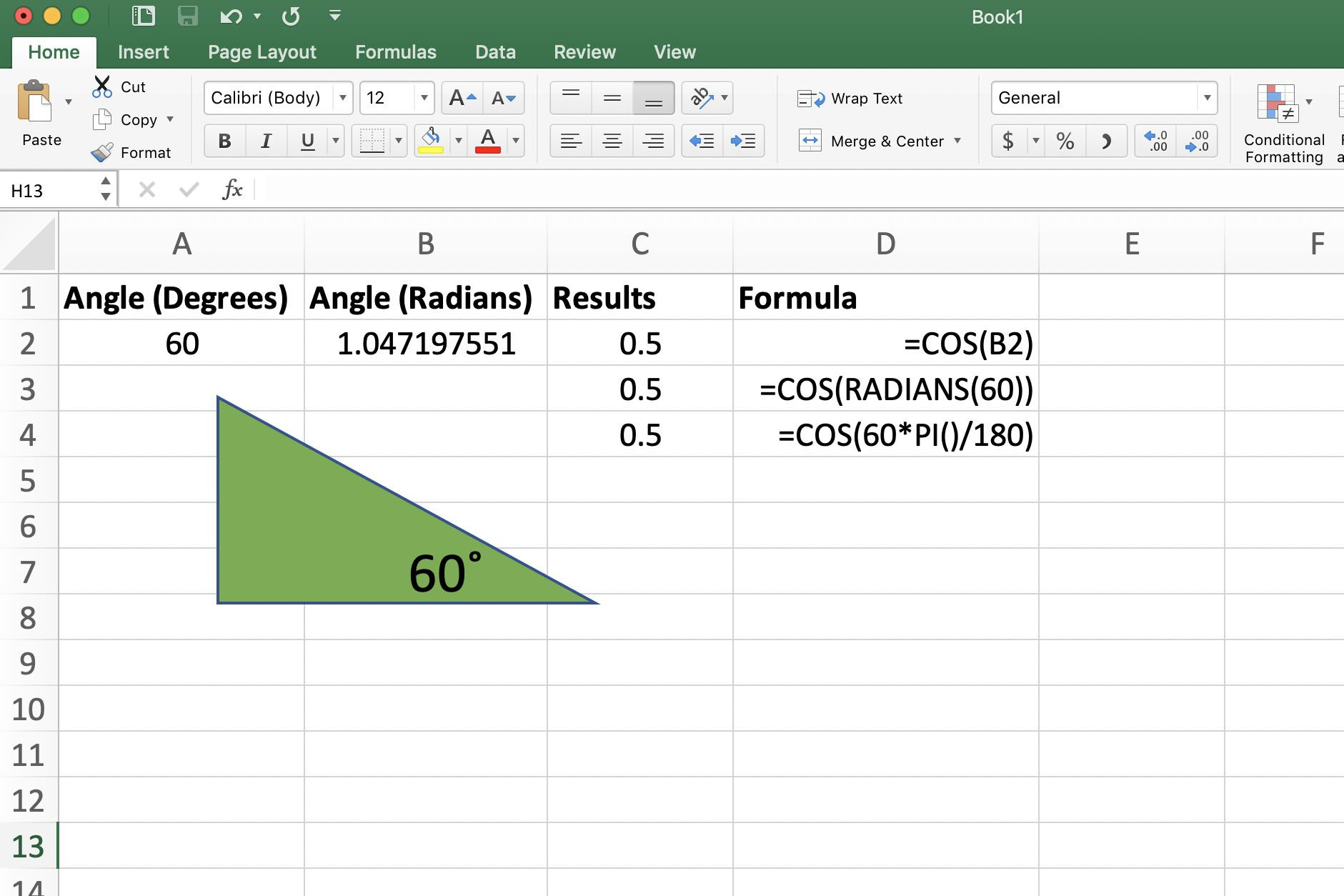 How To Find The Cosine Of An Angle With Excels Cos Function