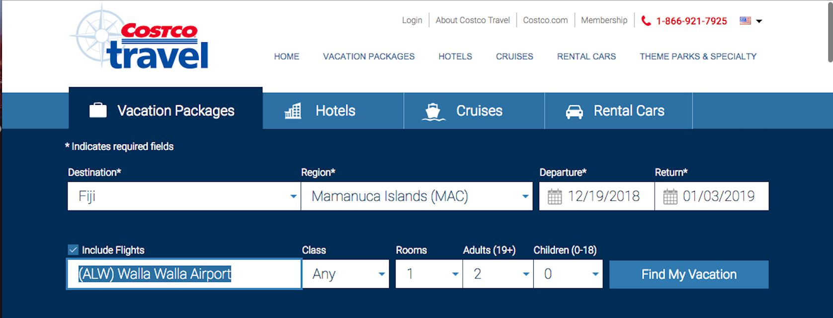 Costco Travel's vacation package selector tool.