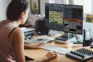 Woman working with VST plugins in FL Studio