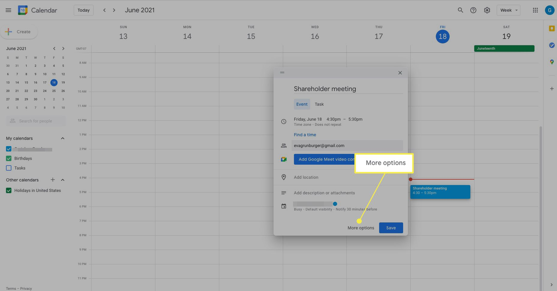 Google Calendar event with More Options highlighted