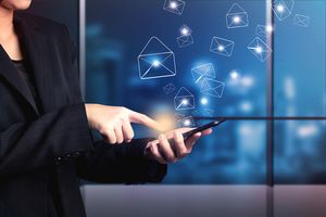 Business woman sending email marketing by digital smart phone