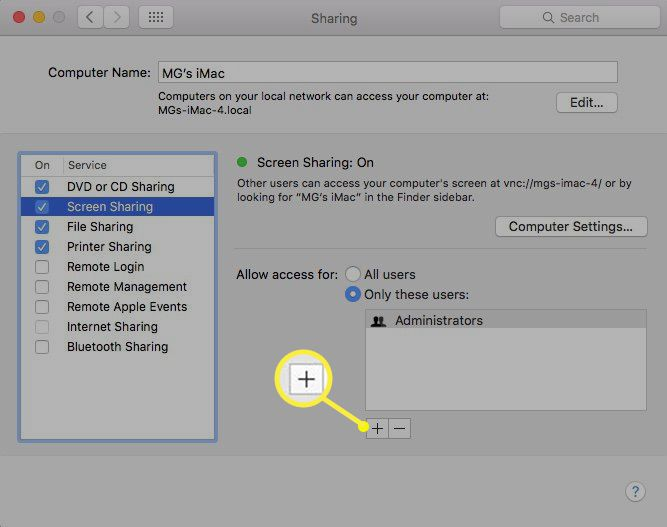 Adding users for screen sharing between Macs